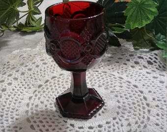 AVON ruby red glass water goblet..collectible