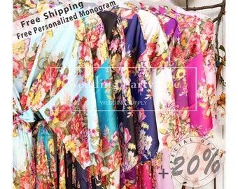 SALE! Bridesmaid Robes, MIX Colors, Wedding Gift, Bridal Party Robes, Set of Bridesmaids Robes, Silk Bridesmaid Robe,  FREE Fast Shipping