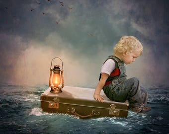 Suitcase In The Sea, Digital Background, Digital Backdrop, Instant Download, Backdrop, Child, Portrait Photography, Photography Prop, Art