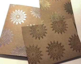 Set of Three Notecards - embossed spiral burst