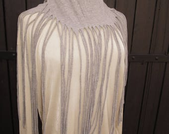 scarf grey with long fringes multi purposes