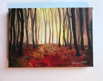 Forest at Dusk, Acrylic Painting, Miniature Painting, handmade painting, 5x7, stretched canvas