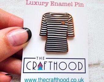 Breton Stripe Top Hard Enamel Pin Badge