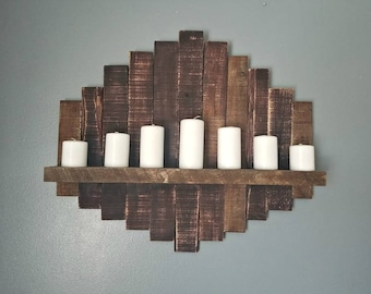 Large Wooden Candle Display Decor