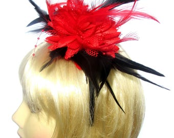 Red and black fascinator on a headband,Ascot , Races,Weddings