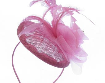 Pink sinamay mesh and feather hatinator/fascinator hat headband, Weddings,Races,Ladies Day