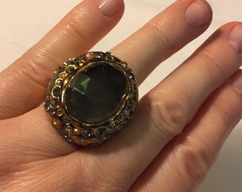 Vintage Alexis Bittar Crystal Coctail Ring