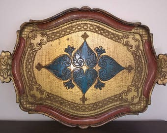 1950s Italian wooden serving tray, gold, orange and turquoise. Mid Century. Golden Italian Florentine Serving Tray
