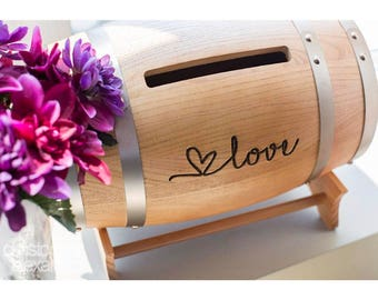 Love Barrel Wedding Reception Card Holder