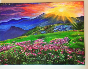 "Mountain Sunset, Spring,  Landscape Acrylic Painting - ""Fresh"""