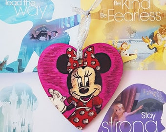 Hand Drawn Christmas Ornament Minnie Mouse Disney Inspired Plaque/Hanging Decoration/Bauble