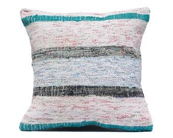 TICKING STRIPE PILLOWS,20x20 inch pillow,throw decorative pillow cover boho,decor rug pillow,vintage home decor pillow,rag rug cushion