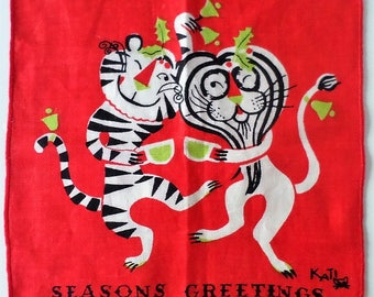 VTG 50s/60s KATI Red Small Handkerchief Season's Greetings Winking Lion and Tiger Toasting the Holidays