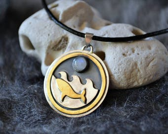 Night Swimming - Moonstone - Brass and Sterling Silver