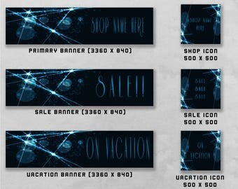 Premade Banner and Icon Set for Etsy and Facebook, Shop Front / Cover Image, Business Branding / Advertising.