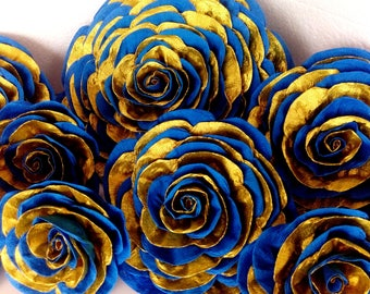 12 gold Navy Royal blue giant crepe paper flowers prince baptism boy baby shower little bridal backdrop Wedding wall birthday party Nurser