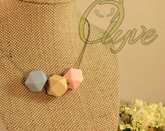Customisable Silicone Bead Geo Trio Necklace