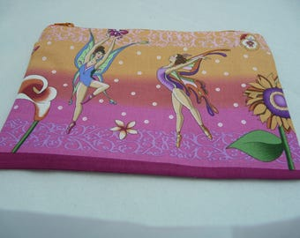Lined clutch: fairy ballerinas orange and pink fairy / / pouch / / case tales