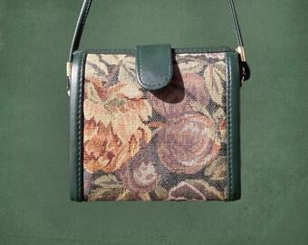 Vintage Rose Tapestry Green Box Bag / 50's Tapestry Bag / Tapestry Purse / Rose Bag / Pin Up Bag/ Cross body Bag