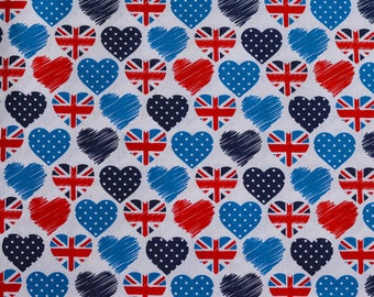 Novelty Fabric, Hearts, Union Jack, Cotton, Love London Theme, Sewing, Dressmaking fabric, Red, Navy, Blue, White,