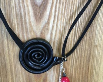 Necklace swirl with positive thinking recycled vinyl record