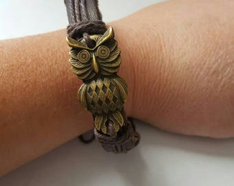 Leather and gold owl bracelet