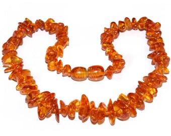 Genuine Baltic Amber Baby Teething Necklace Cognac