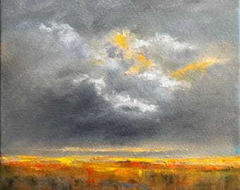 Storm  Original Oil Abstract Landscape Painting on Canvas 10 X 10 inches