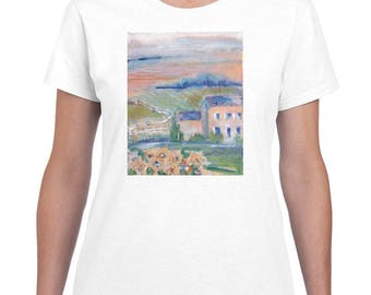Tuscan Countryside By Paintsarahpaint - Ladies Shirt