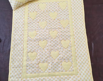 Handmade Appliqued Doll Quilt and pillow