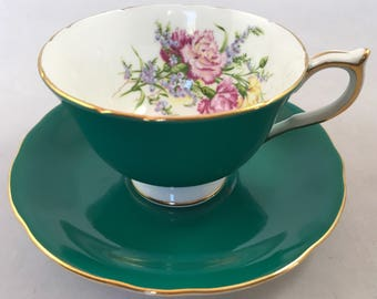 "Aynsley Hunter Green Teacup and Saucer ""Carnations"""