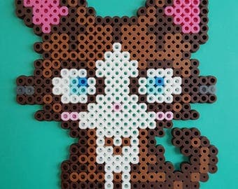 Brown Kitten Perler Bead Sprite