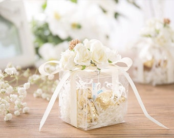 Wedding favor etsy clear wedding favor boxes with ribbon and artificial flower candy box gift boxes junglespirit Images