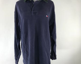 Vintage 90's Tommy Hilfiger Blue Size Large Long Sleeve Polo Cordaroy Collar