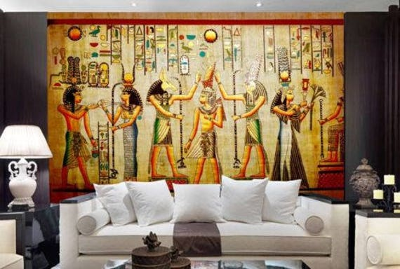 3d egyptian mummies royal family wallpaper mural wall print for Egyptian wallpaper mural