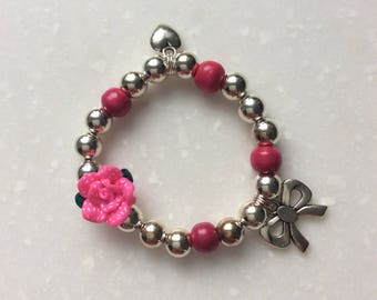 Bracelet girl with Rose and charms