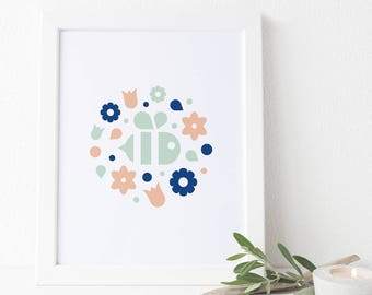 Spring Bee Floral Wreath - Art Print (baby, nursery, bumblebee wall art and decor)