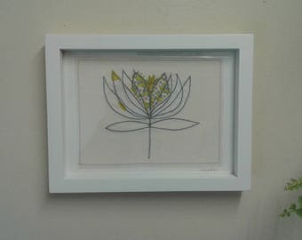 Original textile art picture depicting a water lily