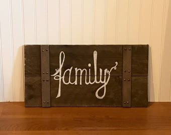 Rustic Wood Family Wall Hanging Sign