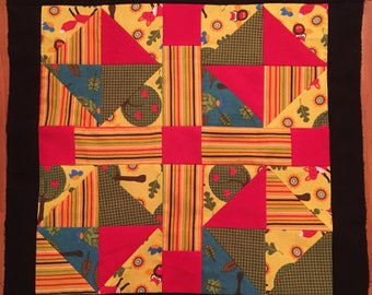 """Foxes with Apple Trees Quilt Block in Primary colors, 17""""square"""