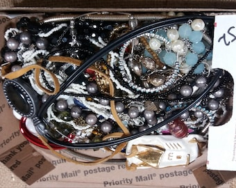 Bulk Junk Jewelry Lot, Full Small Flat Rate Box,  2 Pounds.( lot J2 )
