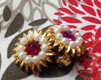 Vintage Faux Ruby and Pearl Clip On Earrings