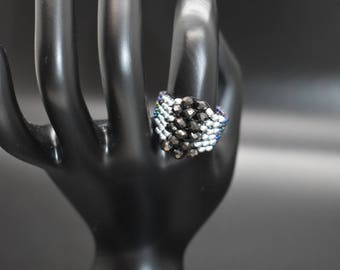 Bead and Crystal Ring, Statement Piece, Fashion Jewelry, Chunky Ring, Beaded Ring, Women's Jewelry, Costume Jewelry