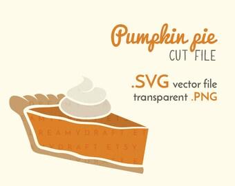 Pumpkin pie cut file | fall - dessert - pumpkin pie clip art | SVG - vector - PNG | Cricut or silhouette cutting machine