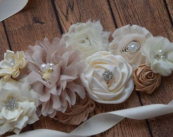 Neutral Sash , flower Belt, maternity sash, wedding sash, flower girl sash, maternity sash belt