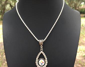 Rhinestone Pittsburgh  necklace . Pittsburg necklace.Football necklace.Pittsburg  jewelry. Football jewelry.