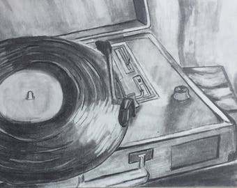 record player drawing
