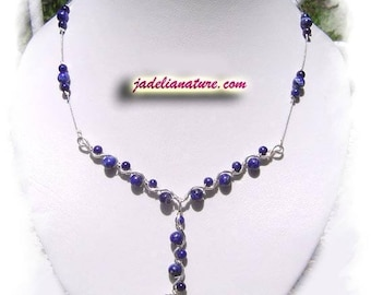 Lapis Lazuli and silver plated wire necklace
