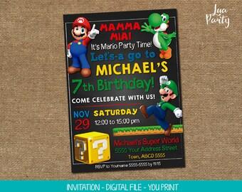 Super Mario invitation print yourself, Super Mario birthday invitation, Super Mario party invitation