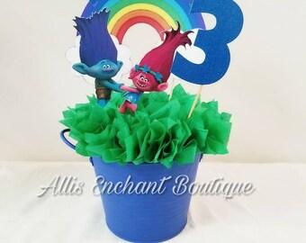 Trolls Party Centerpiece Trolls centerpiece Poppy Branch centerpiece Trolls birthday party Cute centerpiece Table centerpiece